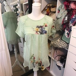 One Fine Day Anthropologie HTF mint floral Top XS
